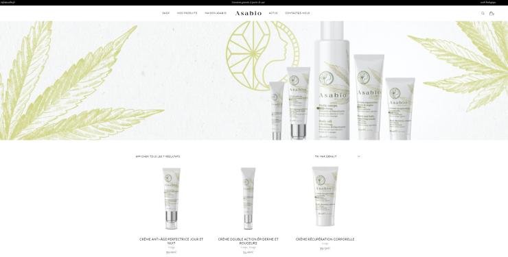Asabio.fr - prodej kosmetiky obsahující CBD