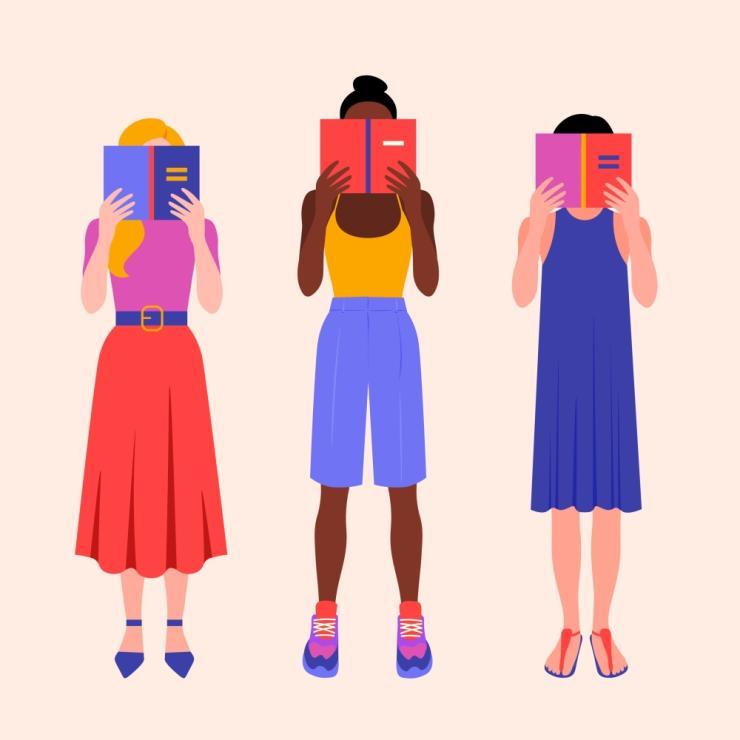 Tři ženy čtoucí knihy.