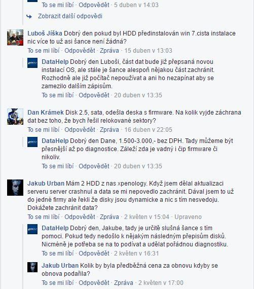 DataHelp komentáře na Facebooku