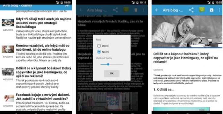 mobilní aplikace Aira blog