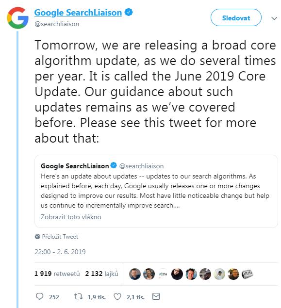 Tweet oznamující 2. června, že příští den bude spuštěna aktualizace hlavního algoritmu.
