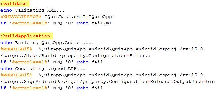 Příklad skriptu z MSBuild nástroje pro kvízovou aplikaci