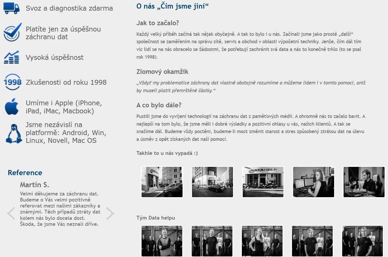 DataHelp | ukázka tvorby – obohacení webového obsahu firemním focením