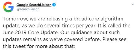 June 2019 Core update u Google