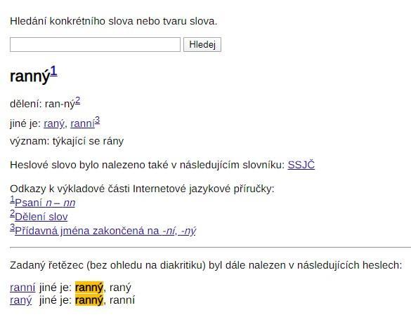 """Ukázka zpracování slova """"ranný"""" ve slovníkové části IJP."""