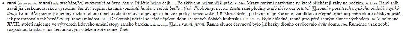 """Ukázka zpracování slova """"ranný"""" v Příručním slovníku jazyka českého."""