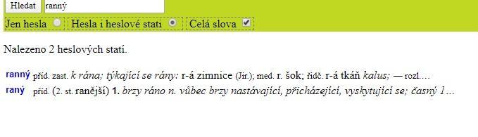"""Slovo """"ranný"""" ve Slovníku spisovného jazyka českého."""
