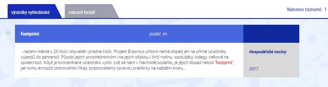 """Doklad užití nového slova v češtině """"footprint""""."""