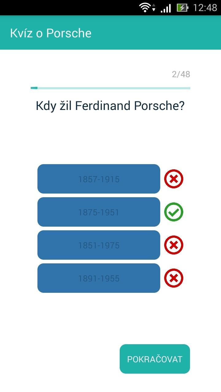 Příklad kvízové otázky v aplikaci Xamarin