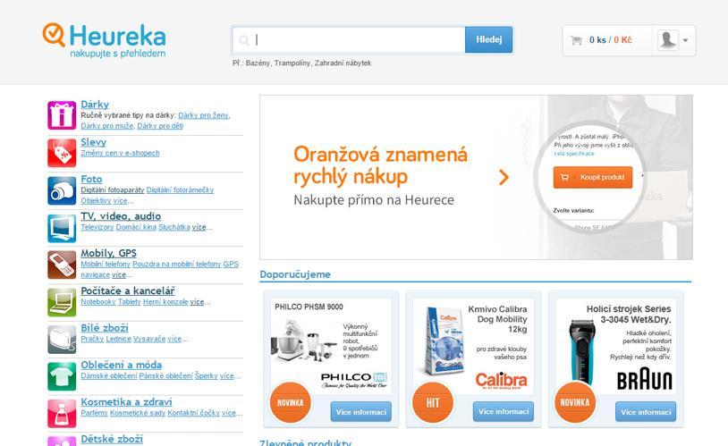 produktové vyhledávání na Heureka.cz